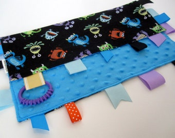 Sensory Tag Blanket - Bright Silly Monsters - Ribbon Lovey