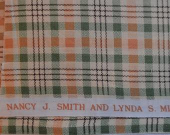 FABRIC, QUILTING,  cotton,  orange/green/tan plaid