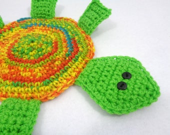 Turtle Hot Pad, Crocheted Bright Green and Orange Turtle Trivet, Gift for Mom, Kitchen Decor, Turtle Collector Gift, Turtle Pot Holder
