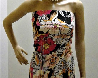Oneill Phycodelic 70's Flower Power Bold Color Bare Shoulder Mini Dress - Size XS