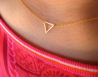 Dainty Triangle Necklace - Little Necklace 14K gold filled with Tiny Triangle brass gold plated - pendant necklace - geometric jewelry