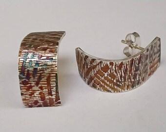 Sterling silver handmade embossed earrings, hallmarked in Edinburgh