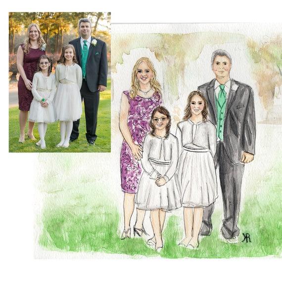Custom watercolor family portrait, family portrait, family painting, custom painting, gifts for her, custom gift, custom portrait