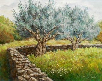 Olive trees painting Print, Landscape painting Print, Tree acrylic painting art Print, Nature, Wall decor