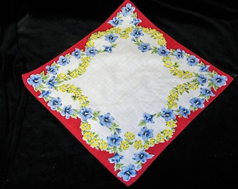 VINTAGE~With or w/o Monogram~50's Blue and Yellow Floral Handkerchief - See Item Description - 1146