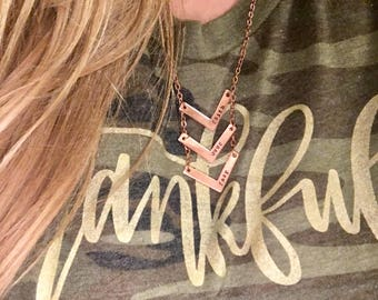 Faith Over Fear Chevron Layered Copper Long Necklace