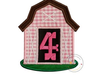 Pink barn birthday number four iron on applique, Farm yard birthday number 4 embroidered patch, country 7th birthday iron on, ready to ship