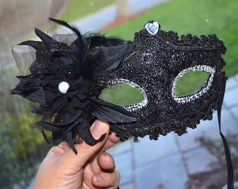 Black and Silver Masquerade Bridal Mask, Mascarade mask, Black mask, lace mask, mardi gras, costume, sweet 16, homecoming, halloween mask,