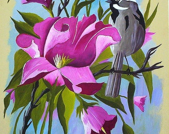 "Original Acrylic Paintings ""Sage Sparrow in Blooms""  Bird painting and Pinkish Violet Flowers Wall Art Gifts Women Michael Hutton 9 x 12"