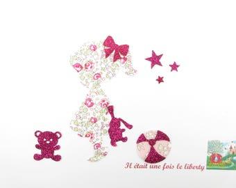 Applique liberty fusing girl rabbit Teddy bear balloon fabric pink Eloise + flex glitter patch iron girl liberty pattern