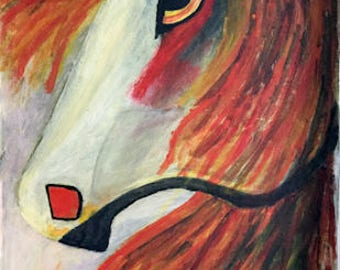 Spirit horse-Acrylic painting on stretched canvas by Rinkysart