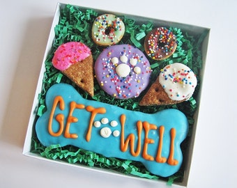 Get Well Dog Treat Gift Box - Get Well Treats, Get Well Soon Treats, Get Well Cookies, Feel Better Dog Cookies, Get Well Dog Assortment