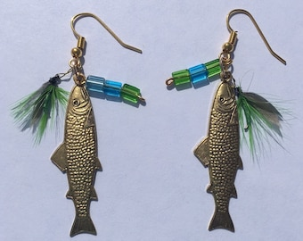 Antique Gold Trout Fly Earrings