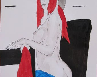 """nude drawing female portrait """"5386"""" Indian ink and wash drawing erotic art"""