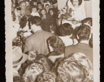 Vintage Photo Queen of Winter Dance in Crowd of People 1940's, Original Found Photo, Vernacular Photography