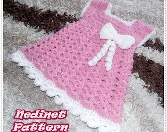 Crochet baby dress pattern, crochet baby clothing pattern, bow decorating dress, 0-4 years, dress pattern, How to make baby dress