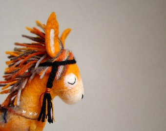 Felt Donkey - Enola. Art Felt Toy Native Tribal Felted Marionette Animals Toys halloween gift for kids Stuffed nursery decor toy. orange