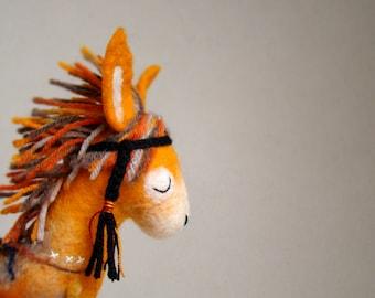 Felt Donkey - Enola. Art Felt Toy Native Tribal Felted Marionette Animals Toys halloween gift for kids Stuffed nursery decor toy. orange