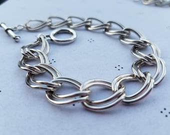 Silver plated Bracelet for charms with Clasp 7.5 inches