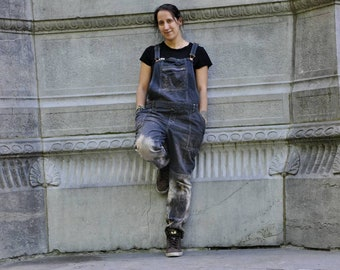 Handmade second hand restyled dungarees | Dyed and bleached jeans | Ecofriendly clothing