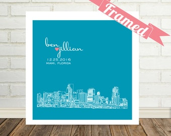 Miami Skyline Custom Wedding Gift Shadowbox Framed Art Miami Florida Unique Engagement Gift Valentines Day Gift for Couple Gift for Her