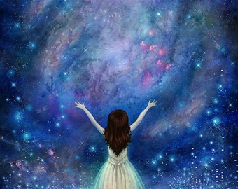 Reach For The Stars print | 8X10 | star painting, empowerment art, night sky painting, feminist, inner strength | by Meluseena