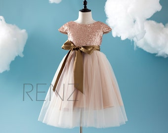 Beige Soft Tulle Bridesmaid Dress with Gold Belt, Rose Gold Sequin Flower Girl Dress with Cap Sleeve Floor Length (HK203)