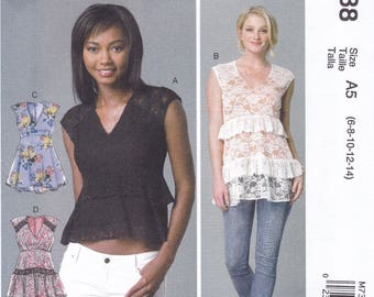 FREE US SHIP McCall's 7388 Sewing Pattern Cute Empire Tops Lace! Size 6/14 14/22 Bust 30 31 32 34 36 38 40 42 44 plus size  New