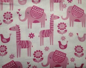 FLANNEL - Baby Safari Animals Fabric - Baby Zoo Animals Fabric - Pink Elephant Fabric - Pink Giraffe Fabric