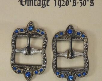 Small Rhinestone Buckles Sapphire 1920's