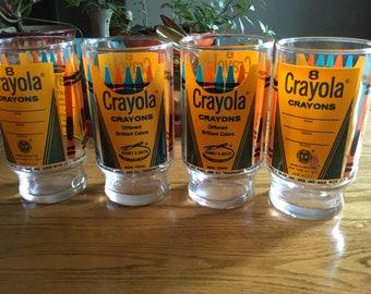 Vintage Crayola Crayons Glasses- set of 4