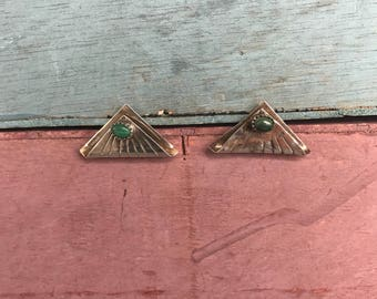 Navajo Malachite Sterling Silver Native American Indian Southwestern Boho Chic Earrings 6g