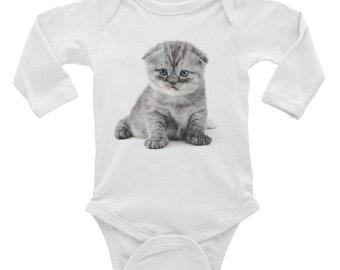 Small British Kitten Infant Long Sleeve Bodysuit