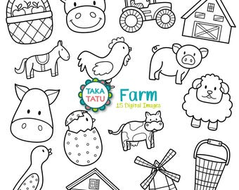 Farm Digital Stamp - Farm Clipart / Farm Line Art / Farm Animals / Cute Farm Clip Art / Barn Clip Art / Black and White - Instant Download
