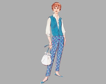 Pants Skirt Vest Top pattern Butterick 8987 Bust 34 Waistband skirt Waistband pants 3/4 sleeves fitted blouse Complete
