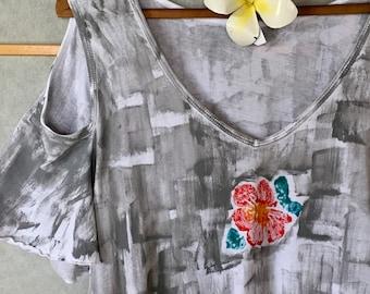 Womens Fashion Cold Shoulder Tunic Hand Painted Top Plus Size Cotton T Shirt Hawaiian Shirt