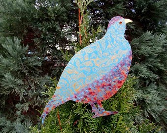 Partridge Tree Topper Christmas Metal Art Sculpture Recycled  Metal Tree Art Holiday Decor Burgundy Gold Blue Metallic Tree Ornament
