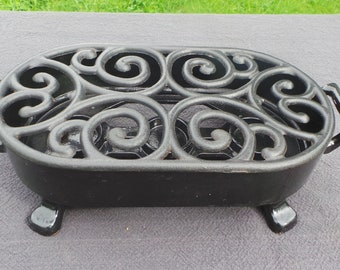 Staub Table Food Warmer Solid Cast Iron Black Enamel Made by Staub Made in France Super Condition Heavy Robust Quality French Kitchenalia