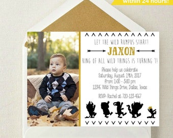 Where the Wild Things Are Photo Invitation // Wild Things Birthday Invitation // Wild Rumpus // Where the Wild Things Are Invite with Photo