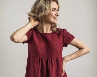 Linen pregnant dress, red maternity dress, pregnancy dress, pregnant gown, maternity gown, maternity wear, maternity dress, birthing gown