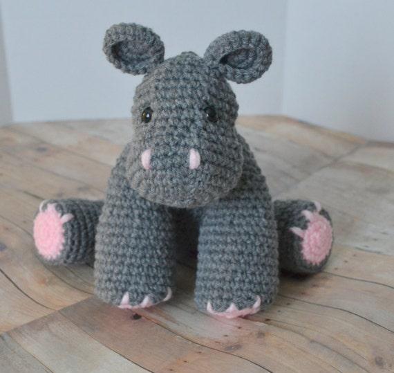 Hippotamus Plüsch gefüllte Tier grau häkeln Hippo Amigurumi