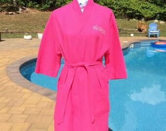 Monogrammed Waffle Kimono Short Robe Square Pattern - Personalized -  FUSCHIA Wedding Bride Pool Spa Robe