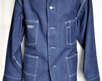 Vintage Oshkosh Denim Work Jacket/ Men's Vintage Workwear/ c. 1970's/ Union Made Sanforized Utility Wear/ Size XL