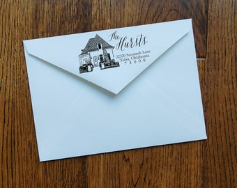 Custom House Stamp - Personalized Return Address - Self Inking - Hand-Lettered - Free Shipping!