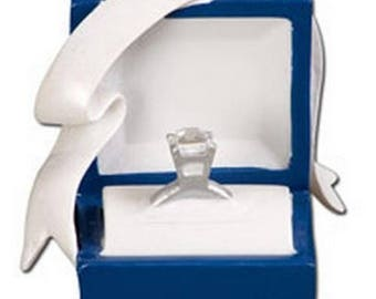 marry me engagement blue box diamond ring hand personalized christmas ornament - Christmas Ornament Ring Box