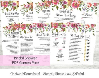 Bridal Shower Games MEGA Pack of 10 Printable PDF Games, Pink Floral Theme, Bridal Shower Games Templates, Instant Download, WLP216