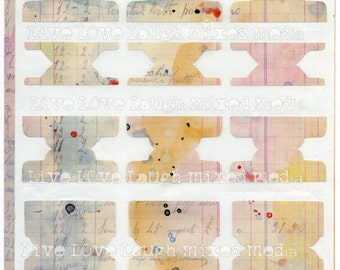 Mixed media sunrise  stickers art journaling tabs, three different shapes