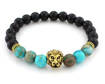 Beautiful bracelet lava beads and jasper imperial turquoise