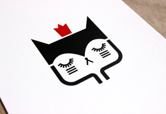 Postcard Cat with crown - cute greeting card - kawaii illustration - minimalist home decor children bedroom
