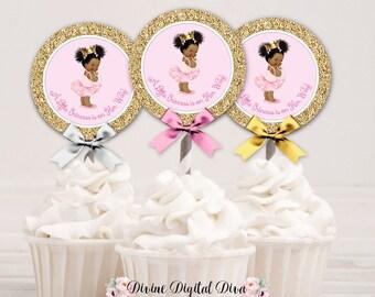 Cupcake Topper Circle Princess Ballerina Pink Tutu & Gold Crown | African American Little Princess Afro Puffs | Digital Instant Download